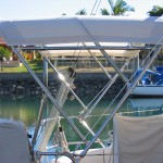 Dave's Custom Trimmers Brisbane Small Yacht Bimini Solar mount ready.