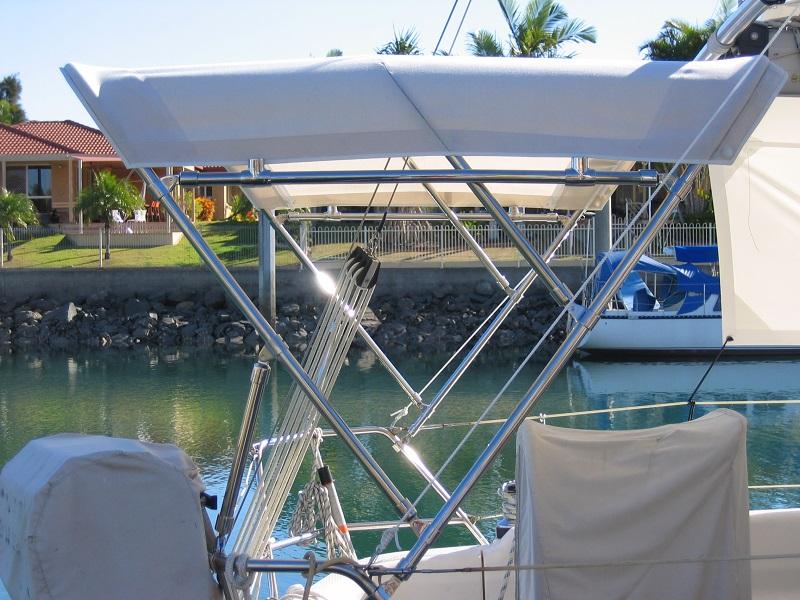 Dave's Custom Trimmers Brisbane Small Yacht Bimini Solar mount ready.