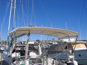 Dave's Trimmers Brisbane Bimini with folding spreader arms